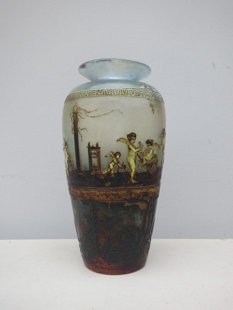 Cherub vase hand painted Signed
