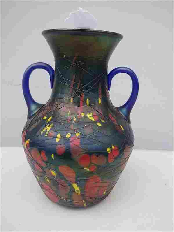 Multi colored 2 handled Art Glass Vase