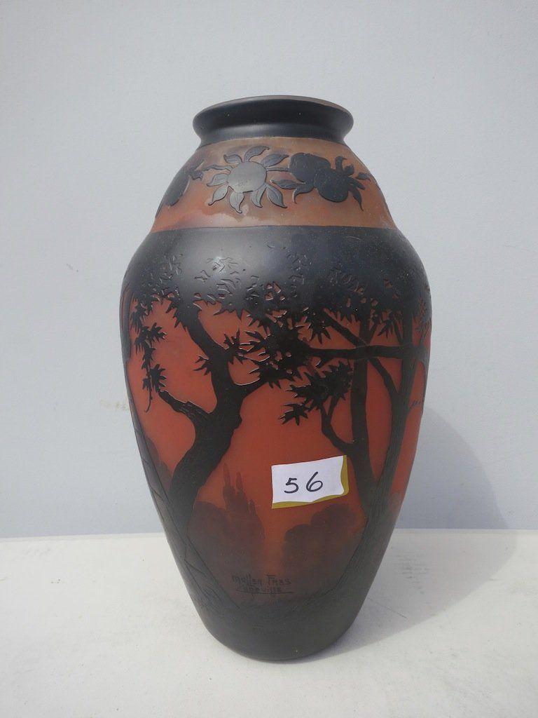 Rare Scenic .Muller Fres Luneville France Xlarge Vase