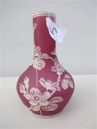 """Unmarked Webb English Cameo Vase 7 3/4"""""""
