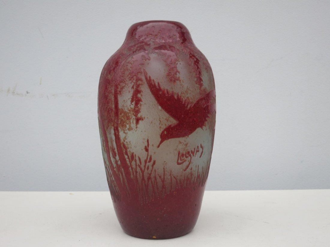 Signed Legras Cameo Art Glass Vase w/ Bird