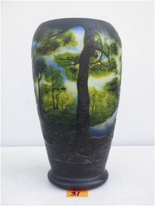 """Galle signed Cameo Art Glass 12"""" Forest Scene"""
