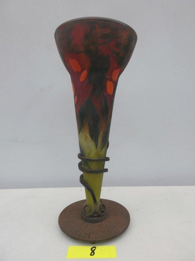 Rare..Daum Nancy Overlay Cameo Art Glass Vase