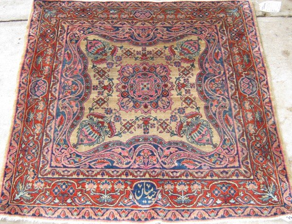 "122: 3'6"" x 3'6"" Antique Kashan"