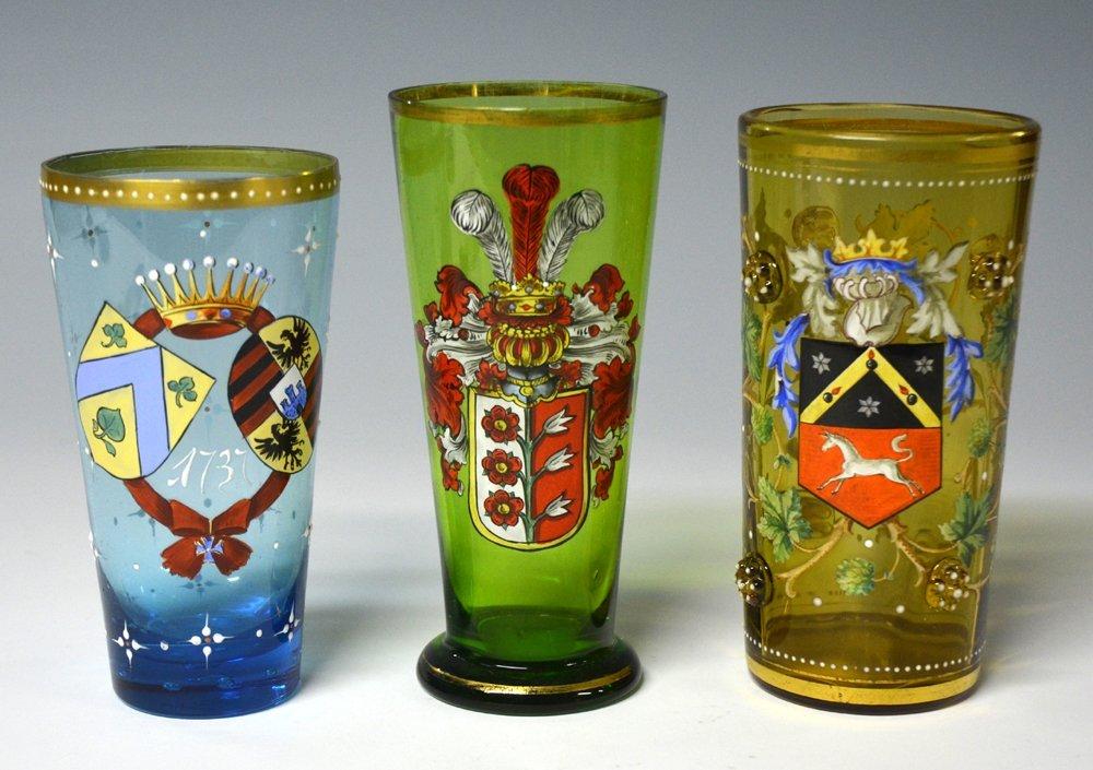 Three Enameled Beakers