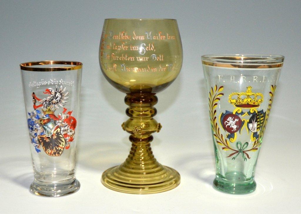 Three Enameled Goblets
