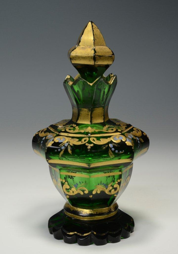 Emerald Green Glass Perfume Bottle