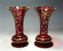 Ruby Stained Bohemian Vases
