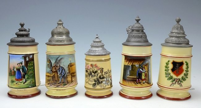 Group of five steins