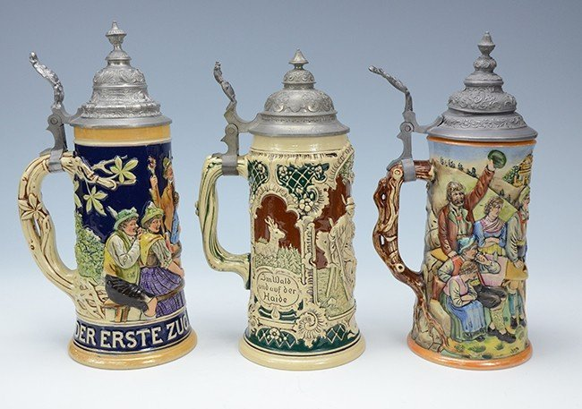 Group of 3 Pottery Steins
