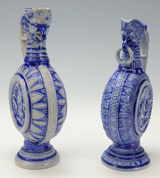 Group of 2 Stoneware Ewers