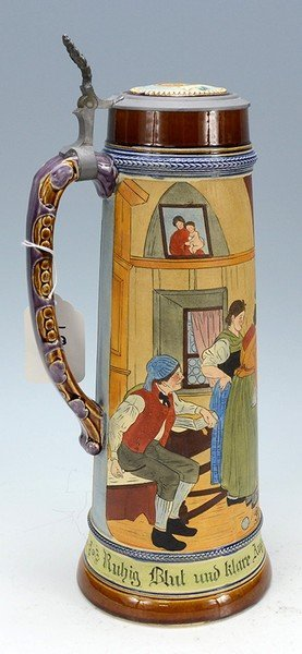 Pottery Etched Stein - 2