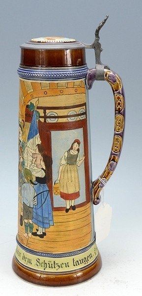 Pottery Etched Stein - 3