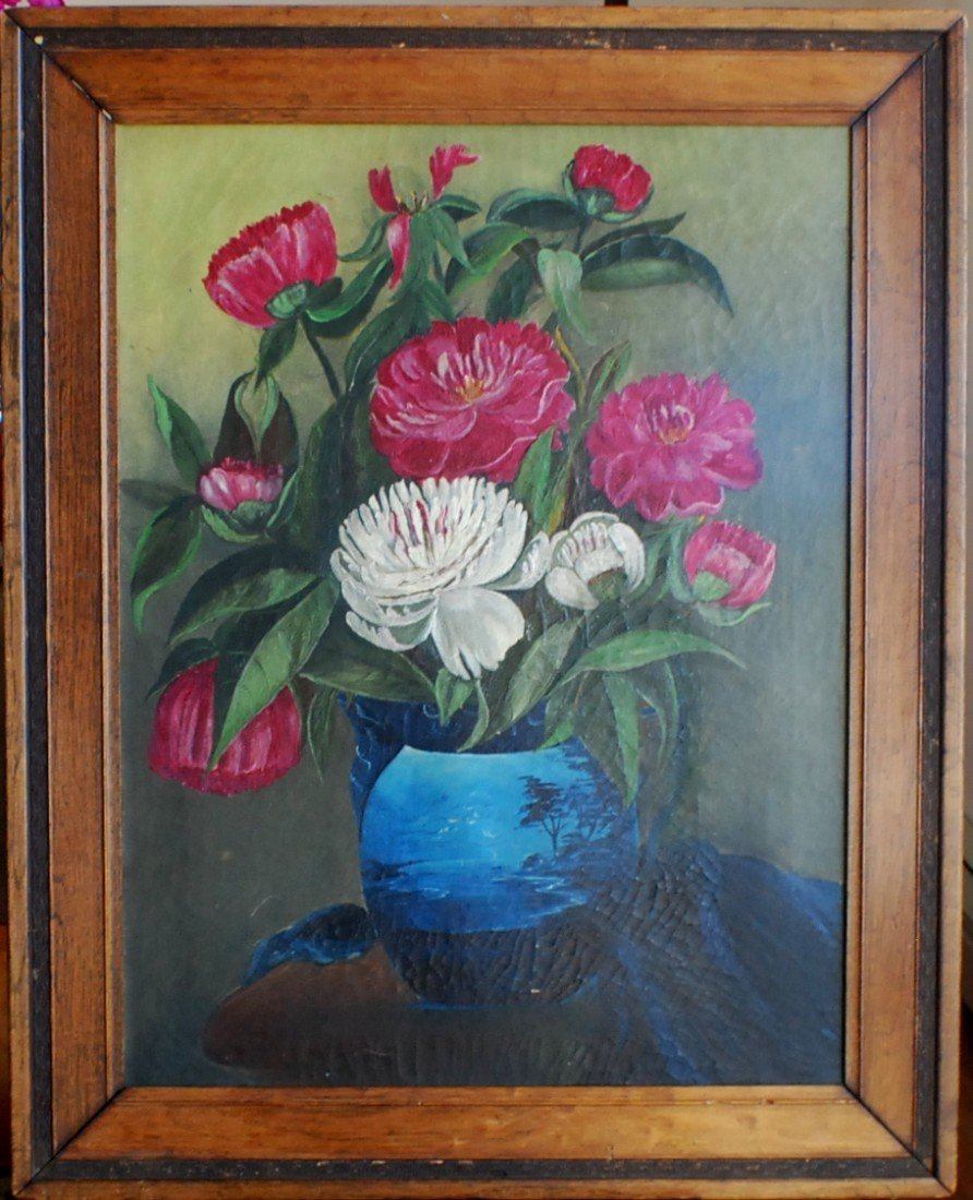 9: 1800's Oil on Canvas, Stillife with Flowers, not sig