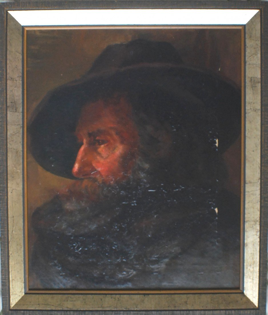 "130: 1800's ""Portrait of a Man in Hat"" oil on canvas, s"