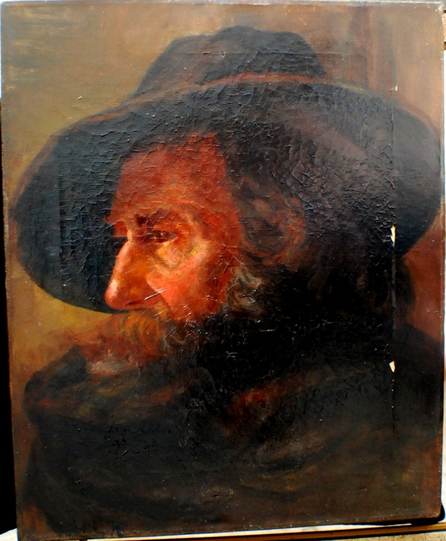 "130: 1800's ""Portrait of a Man in Hat"" oil on canvas, s - 2"