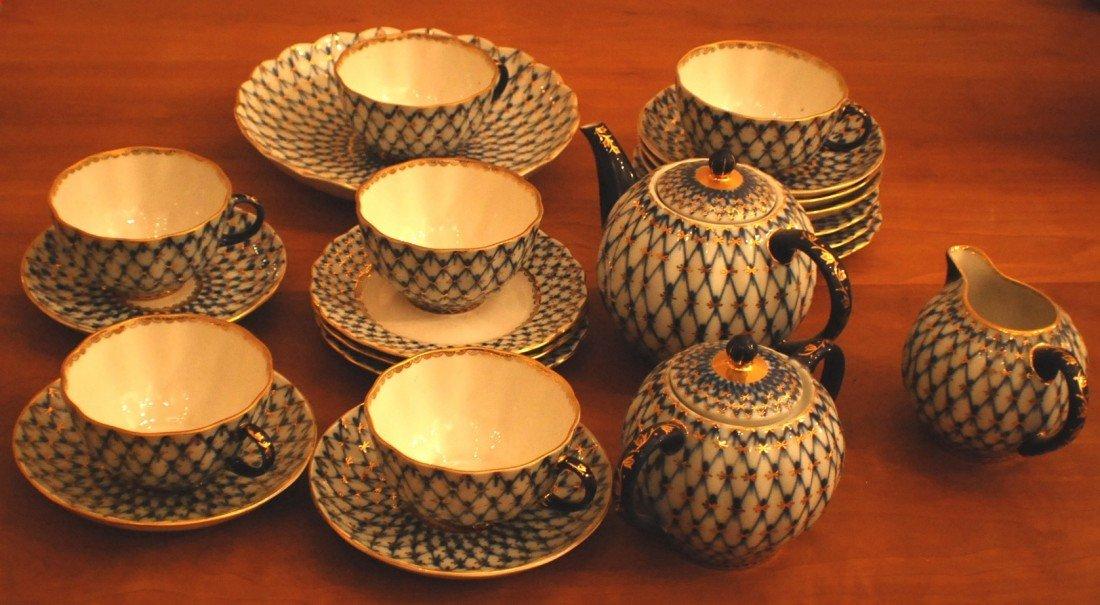 """2: """"Cobalt Net"""" Tea Set for 6, Lomonosov Porcelain Fact"""