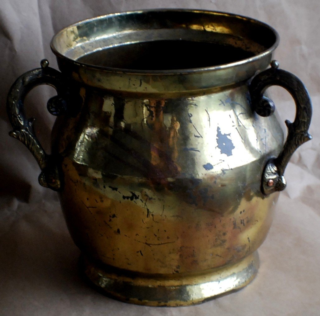 7: Brass 3 handle gilded Champaign ice bucket