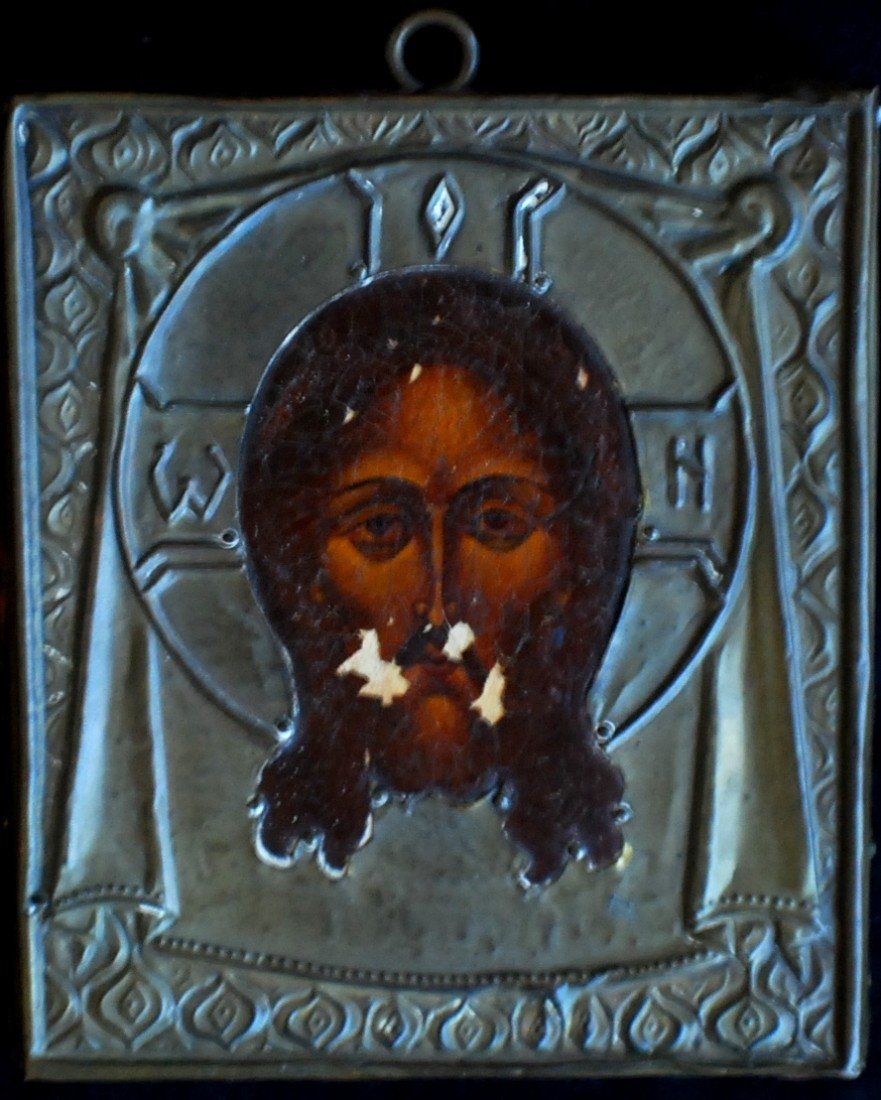 19: Late 1800's Icon on wood with brass frame (oklad) a