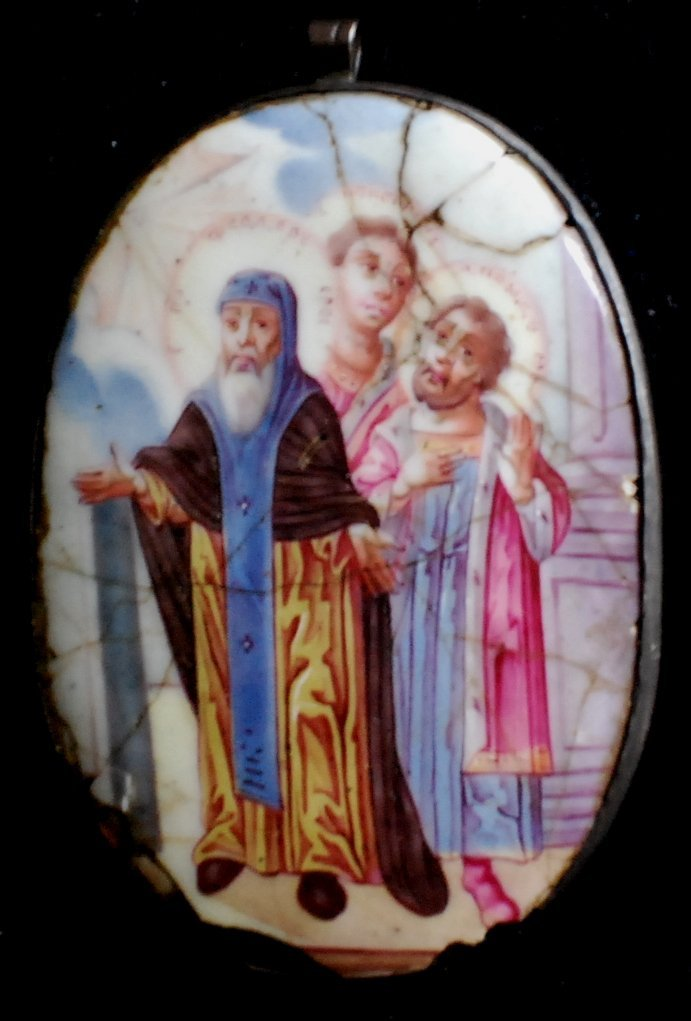 3: Russian Icon on porcelain in silver frame