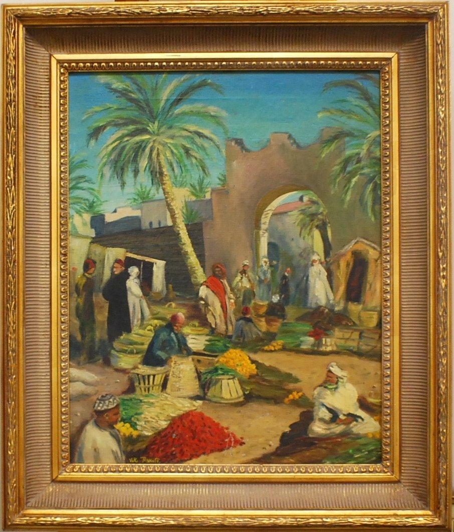 """14: """"Asian Market""""Oil on Canvas, signed  Viki Rakoff"""