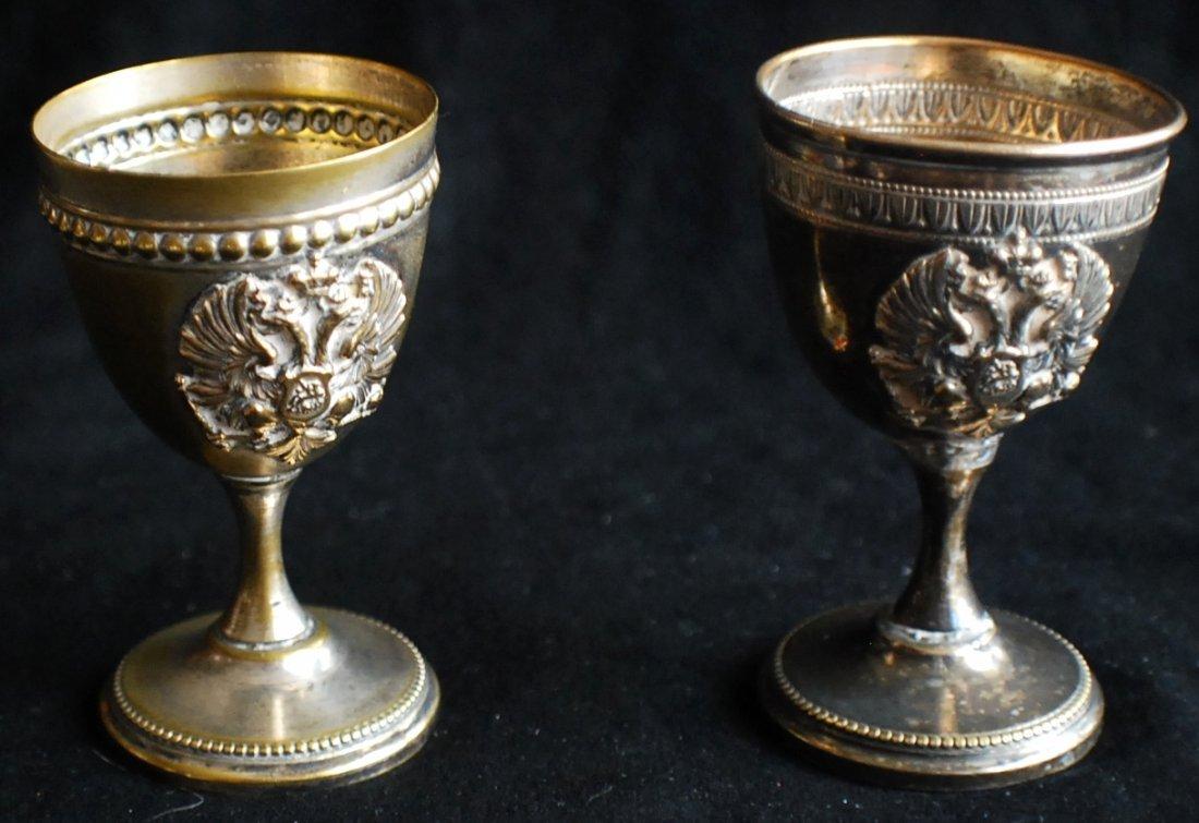 5: Pair of early 1900's silver goblets.