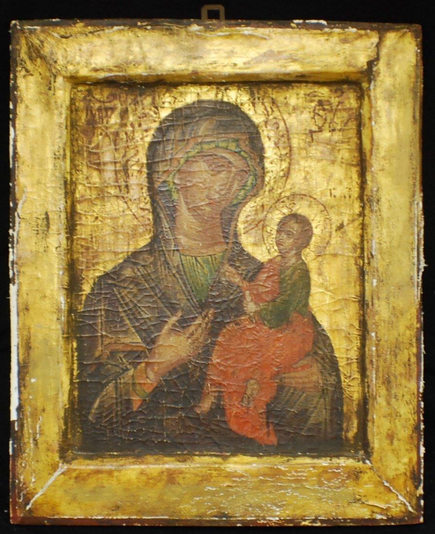 17: Russian Icon on wood, Iverskaya Mother of Go