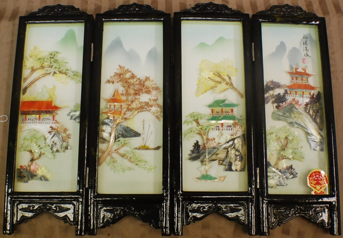 15: Chinese 4 section carved screen with mother of pear