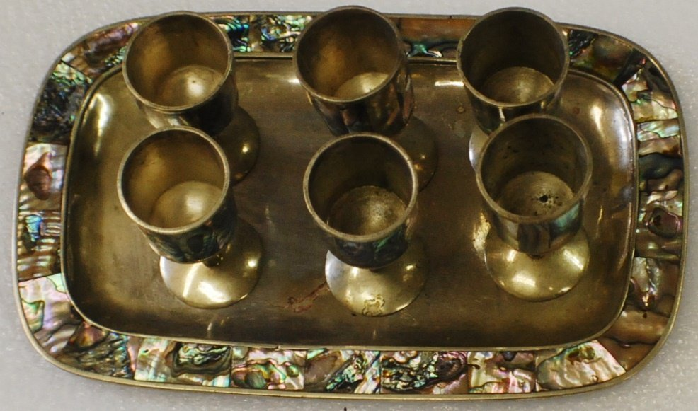 3: Alpaca Mexican Silver Abalone tray with 6 cordials