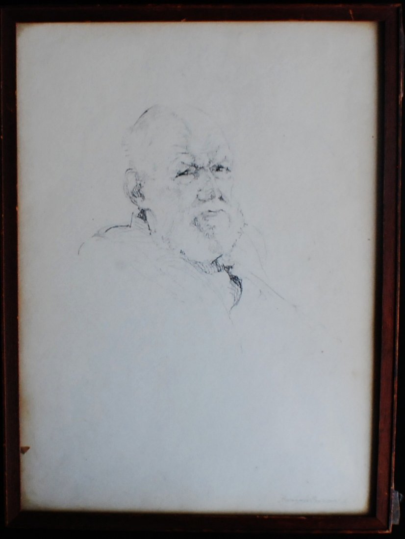 10: Charcoal on paper portrait of a beaded man, signed