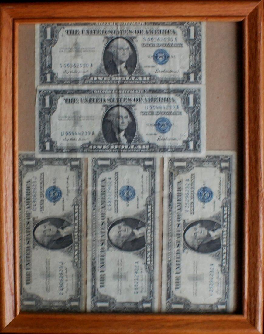 11: 5 Silver Certificates, 1935 & 1957, framed