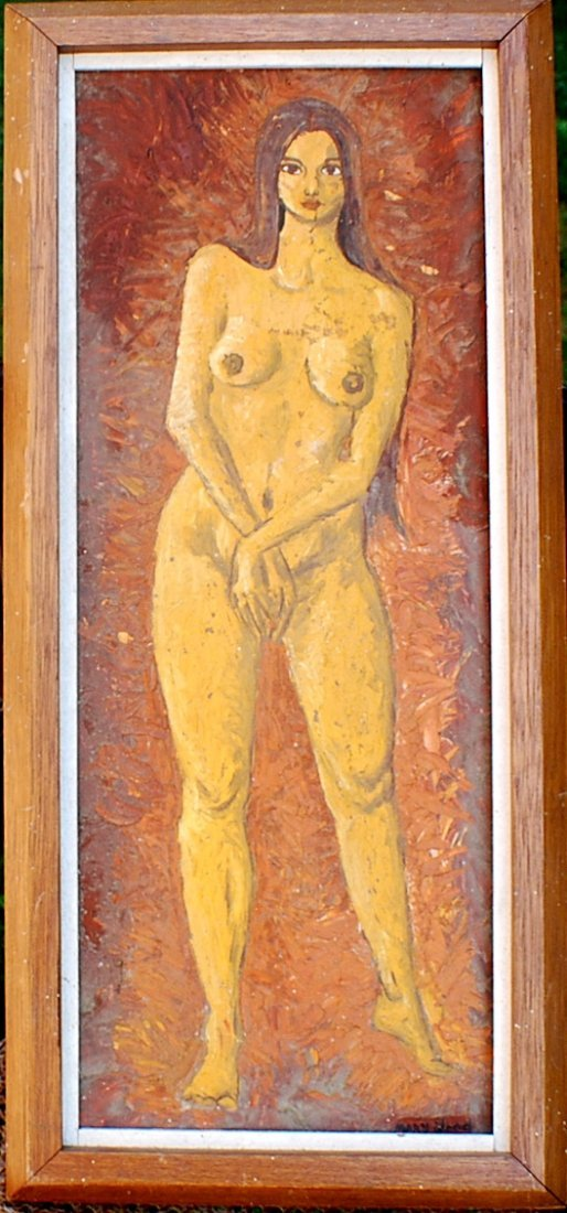 19: Mary Wood nude oil on Wooden Panel
