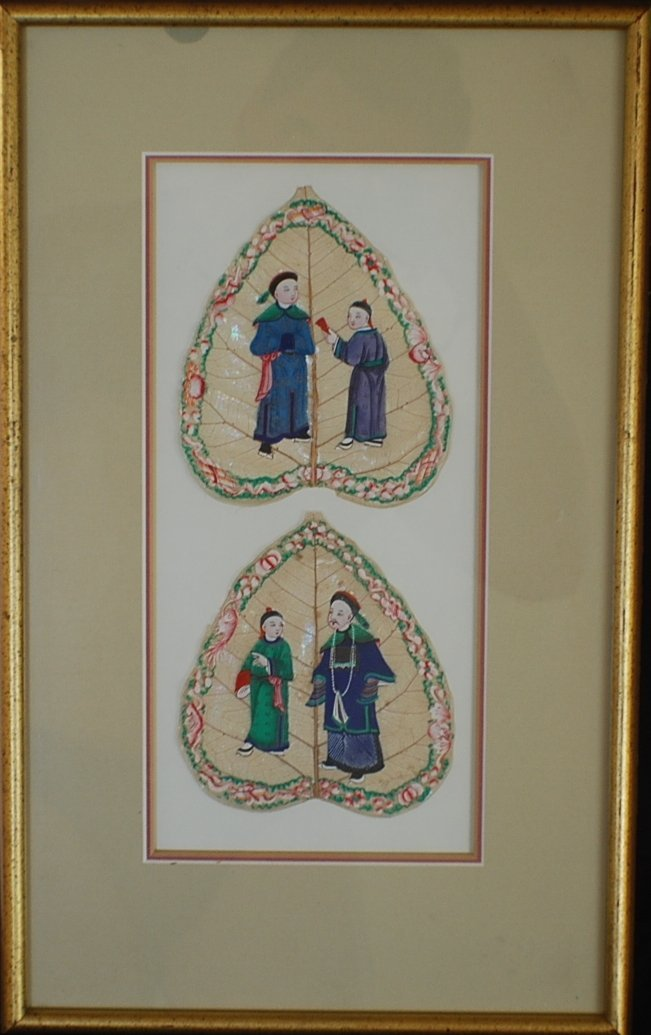 9: Two Oriental paintings on natural leaves in one fram