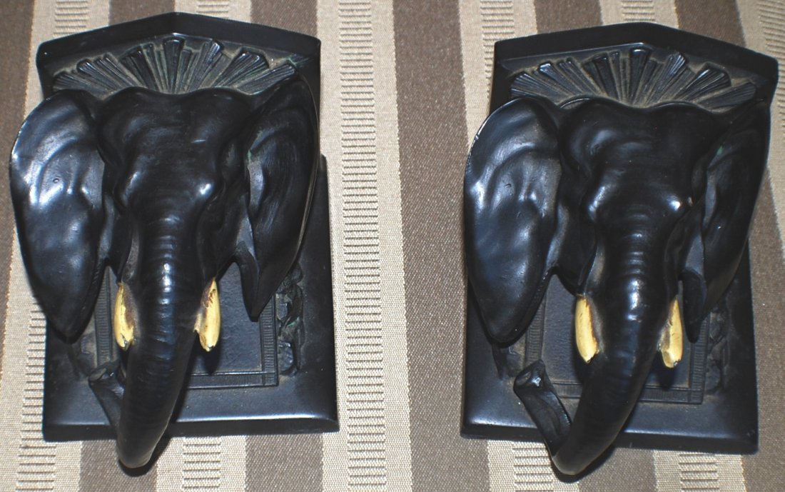 12: Pair of 1922 Elephant metal cast bookends by L.V. A