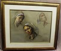 """163: Robert Brackman (1898 – 1980"""" Studies of woman hea"""