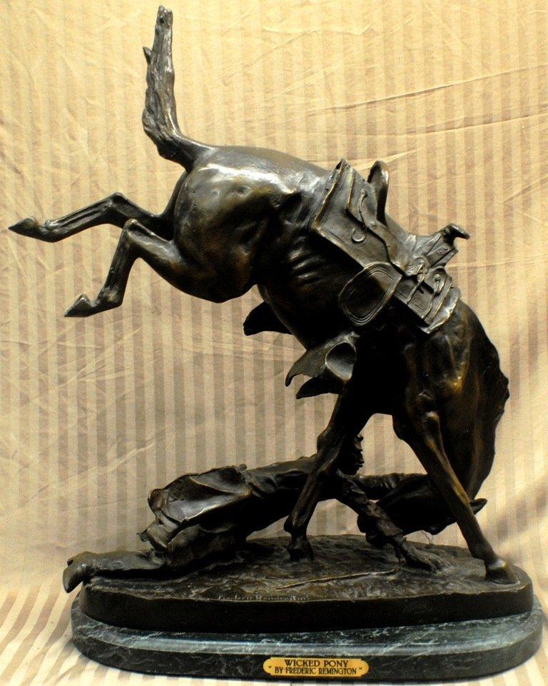 "1: Frederic Remington ""WICKED PONY"" bronze sculpture"