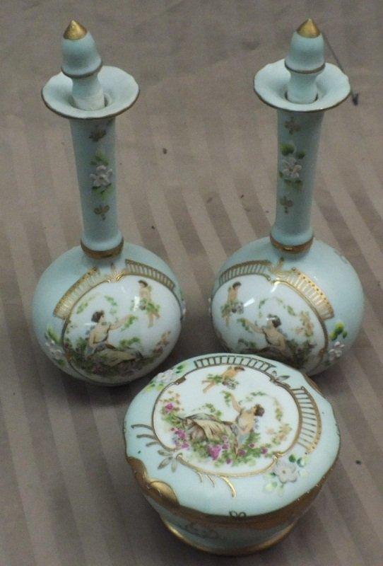 11: Porcelain perfume set, 2 bottles 1 trinket box