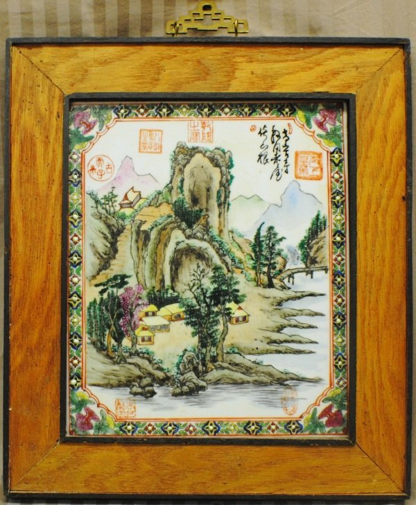 19: Chinese Famille Rose porcelain plaque, hand made an