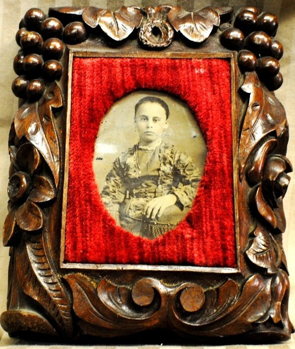 9: Victorian wooden carved frame with tintype portrait
