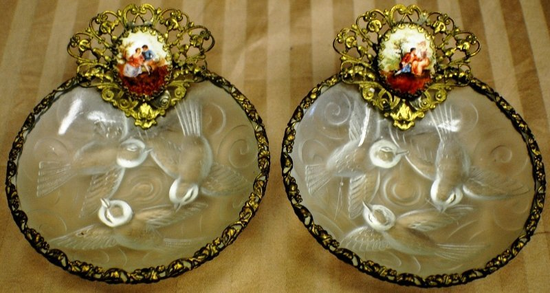 13: Pair of early1900's French nut dishes, possibly Lal
