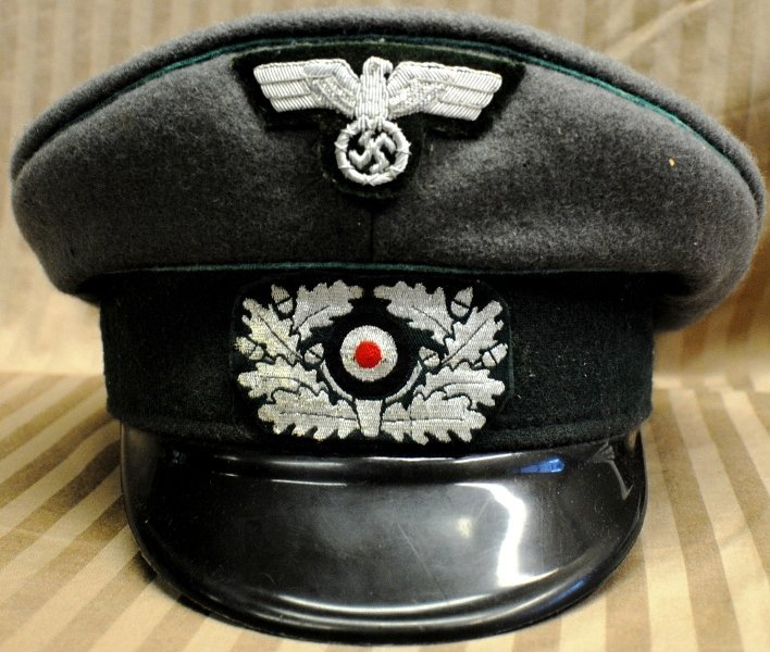 15: German officer cap with swastika patch