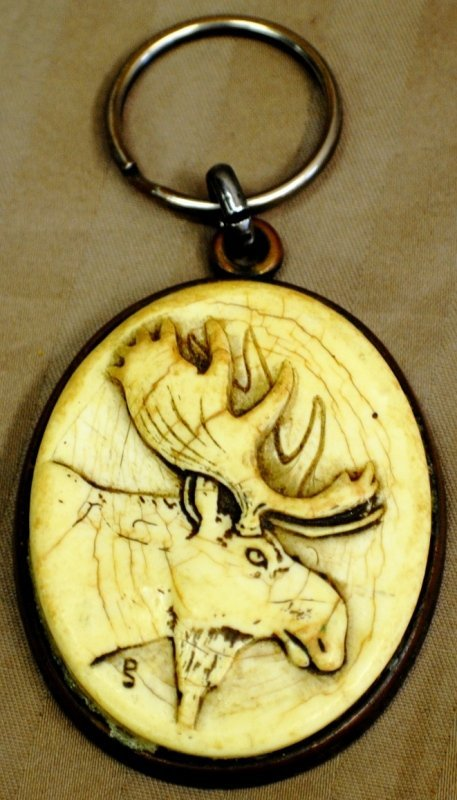 17: Key chain with carved bone