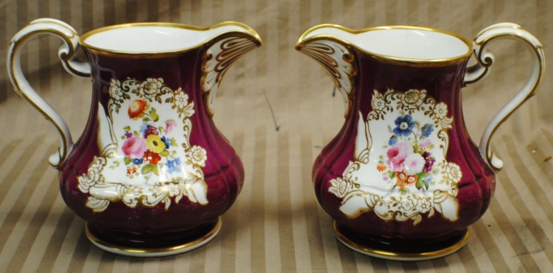 3: Two hand painted  early COPELAND pitchers