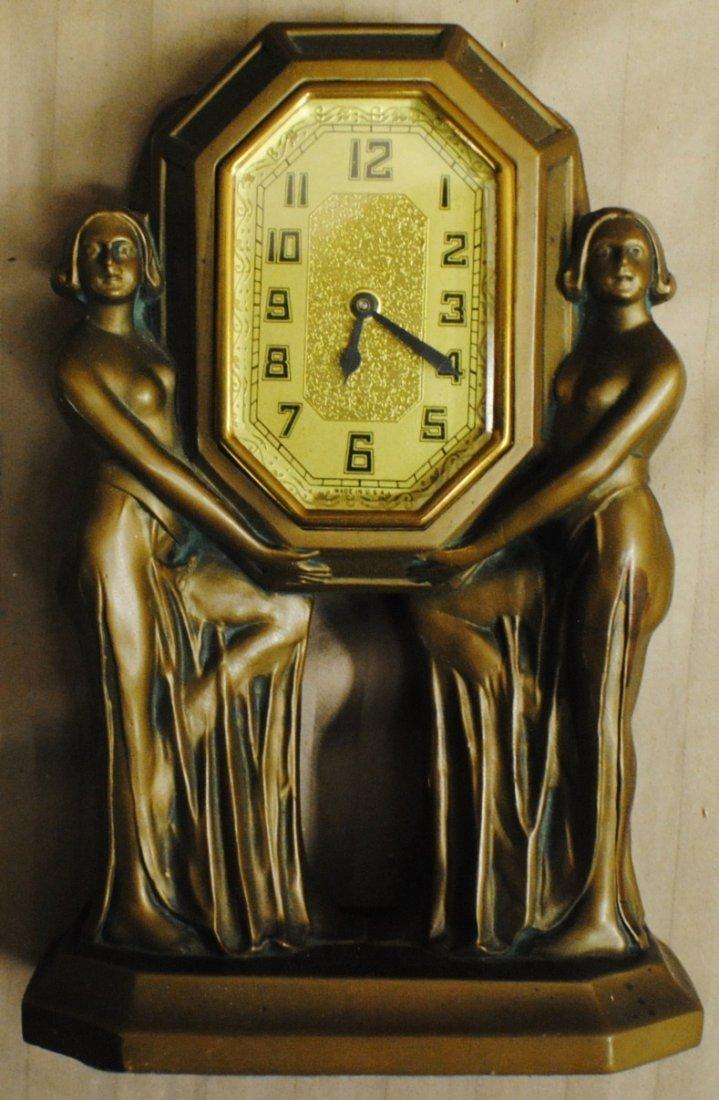 8: Art Nouveau Bronze clock