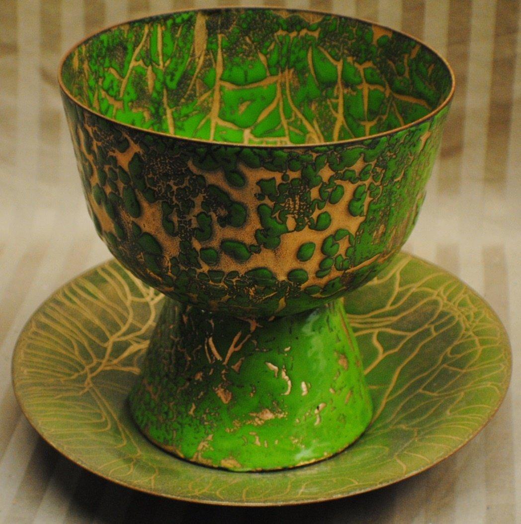 13: Abbey Art Studio enameled brass vase and plate