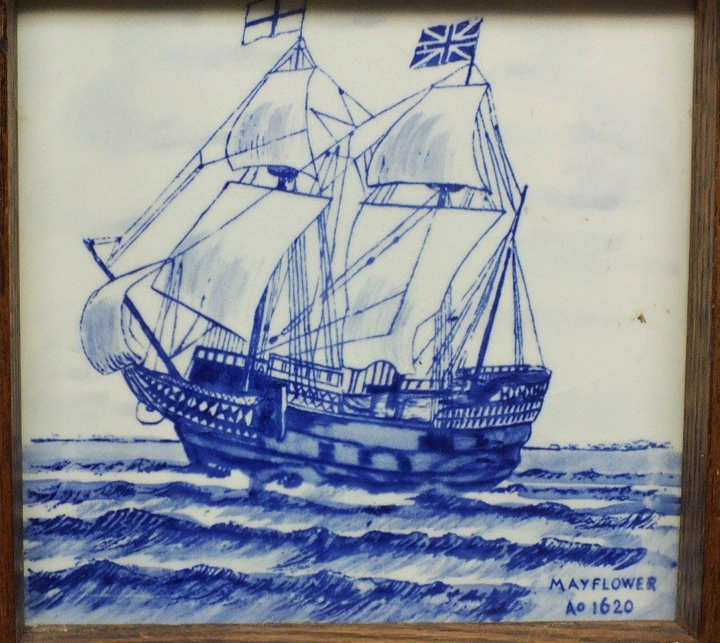 4: Porcelain tile with Mayflower ship in wooden frame