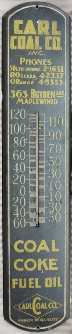 """7: 1930's Carl Coal Co. 38""""Advertising  Thermometer"""