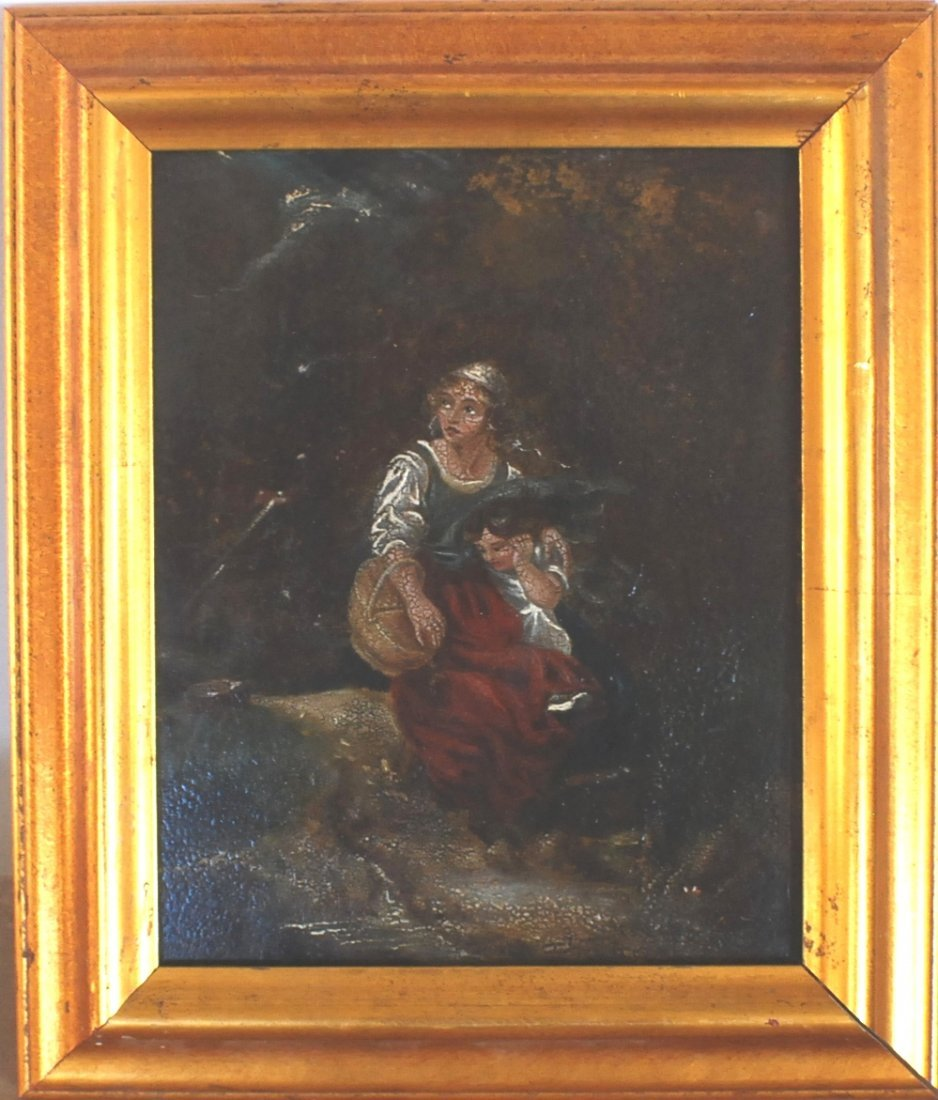 """18: 1800's Oil on board """"Frightened with Thunderstorm"""","""