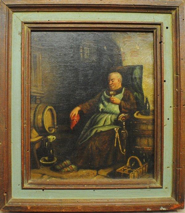 """20: """"Wine Cellar"""", 1800's European School oil on canvas"""