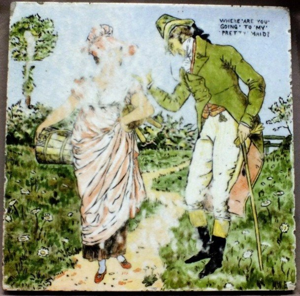 21: Hand painted ceramic tile, signed